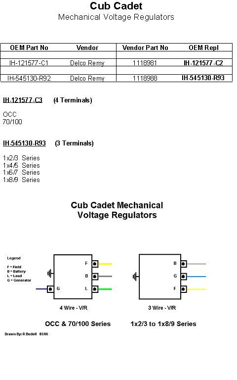cub cadet faq rh cubfaq com 6 Wire Voltage Regulator Wiring Diagram cub cadet 129 voltage regulator wiring diagram